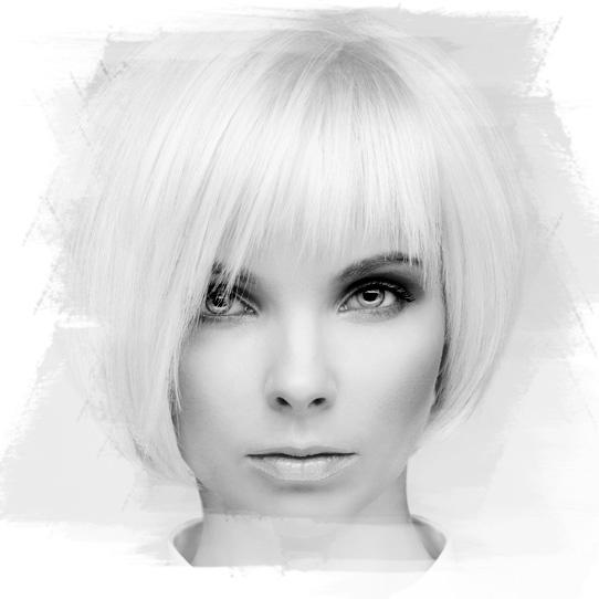 Damemodell sort hvit bilde bob frisyre