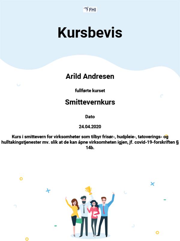 Smittevernkurs Arild diplom