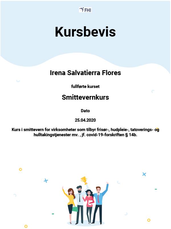 Smittevernkurs Irena diplom